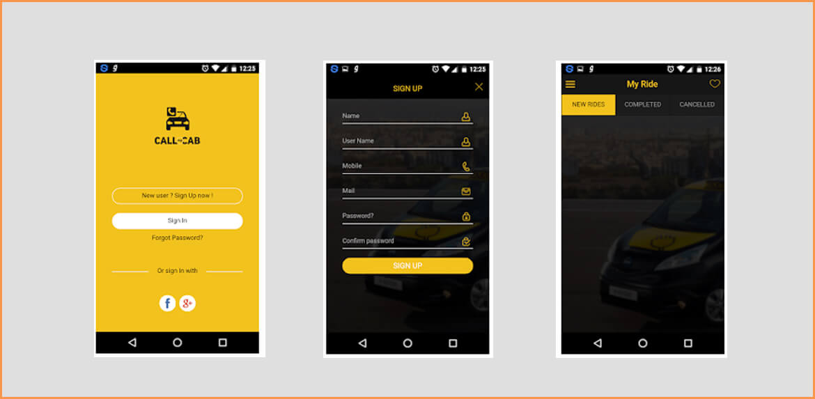 Call My Cab (Online Taxi Booking App)